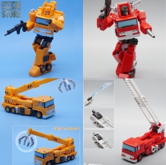 MechFansToys Mech Fans Toys MFT MF-45 MF45 Fire Engine Inferno & MF-46 MF46 Crane Grapple Set of 2